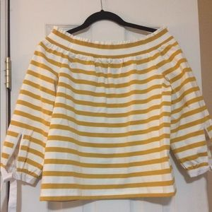 J. Crew Off or On the Shoulder Striped Top